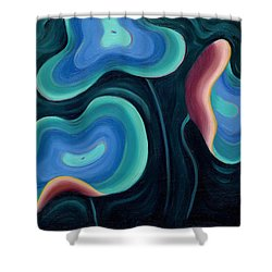 Shower Curtain featuring the painting Lotus Reggae by Sandi Whetzel