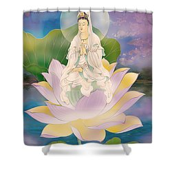 Lotus-sitting Avalokitesvara  Shower Curtain