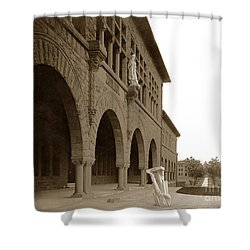Louis Agassiz In The Concrete Most Famous Image Associated With Stanford University 1906 Earthquake Shower Curtain by California Views Mr Pat Hathaway Archives