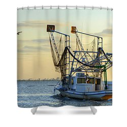 Louisiana Shrimping Shower Curtain by Charlotte Schafer