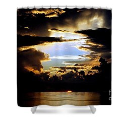 Louisiana Sunset Blue In The Gulf  Of Mexico Shower Curtain