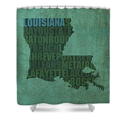 Louisiana Word Art State Map On Canvas Shower Curtain by Design Turnpike