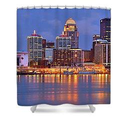 Louisville Skyline At Dusk Sunset Panorama Kentucky Shower Curtain