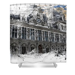 Louvre In A Splash Shower Curtain by Evie Carrier