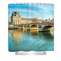 Louvre Museum And Pont Royal - Paris  Shower Curtain by Luciano Mortula
