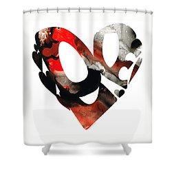 Love 18- Heart Hearts Romantic Art Shower Curtain by Sharon Cummings