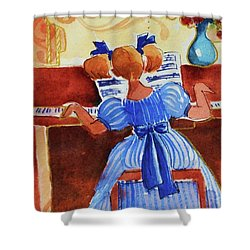 Love A Piano 3 Shower Curtain by Marilyn Jacobson