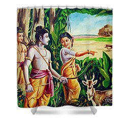 Shower Curtain featuring the painting Love And Valour- Ramayana- The Divine Saga by Ragunath Venkatraman