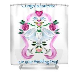 Shower Curtain featuring the digital art Love Birds White Wedding by Christine Fournier