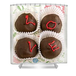 Love Cakes Shower Curtain by Edward Fielding