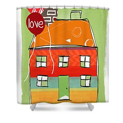 Love Card Shower Curtain by Linda Woods