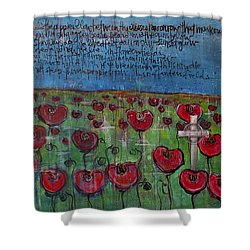 Love For Flanders Fields Poppies Shower Curtain by Laurie Maves ART