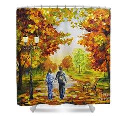 Love In Autumn Shower Curtain by Veikko Suikkanen