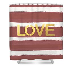 Love In Gold And Marsala Shower Curtain