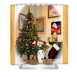 Love In Our Hearts And Santa In The Corner Shower Curtain