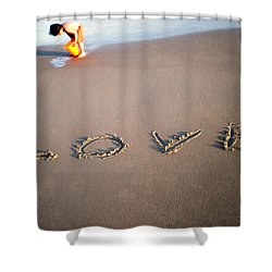 Love Is Blue Shower Curtain by Mark Ashkenazi