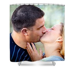 Love Kissing Couple Shower Curtain by Michal Bednarek