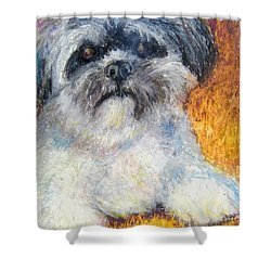 Love My Lhasa Shower Curtain by Laurie Morgan