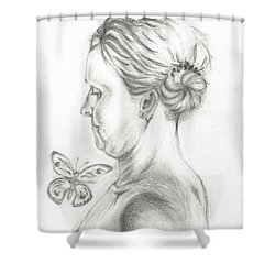 Shower Curtain featuring the drawing Loves- Her Butterflies by Teresa White