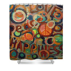 Love Peace Happiness Shower Curtain