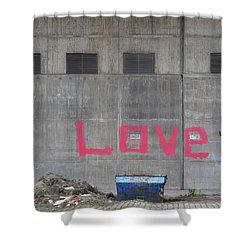 Love - Pink Painting On Grey Wall Shower Curtain by Matthias Hauser