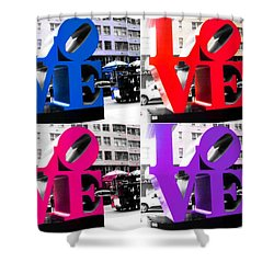 Love Pop Shower Curtain by J Anthony
