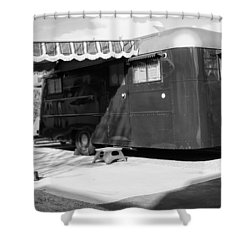 Love Shack Bw Palm Springs Shower Curtain by William Dey
