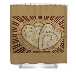 Shower Curtain featuring the painting Love Song Of Our Hearts by Georgeta Blanaru