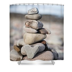 Love Stack Shower Curtain by Anne Gilbert
