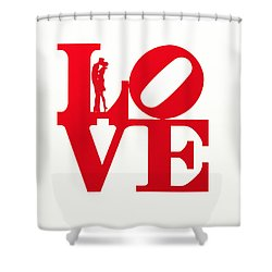 Love Typography - Red On White Shower Curtain