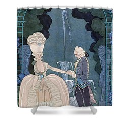 Love Under The Fountain Shower Curtain by Georges Barbier