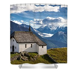 Lovely Little Chapel In The Swiss Alps Shower Curtain