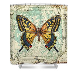 Lovely Yellow Butterfly On Tin Tile Shower Curtain by Jean Plout