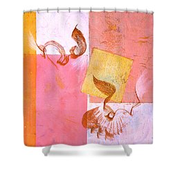 Shower Curtain featuring the painting Lovers Dance 2 In Sienna And Pink  by Asha Carolyn Young