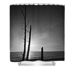 Lovers Key Sunset Black And White One Shower Curtain