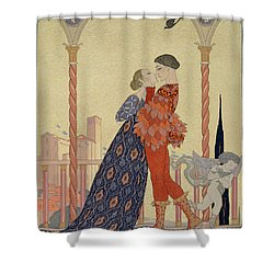 Lovers On A Balcony  Shower Curtain by Georges Barbier