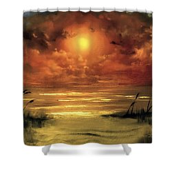 Lovers Sunset Shower Curtain