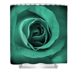 Love's Eternal Teal Green Rose Shower Curtain by Jennie Marie Schell