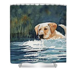 Loves The Water Shower Curtain by Marilyn Jacobson