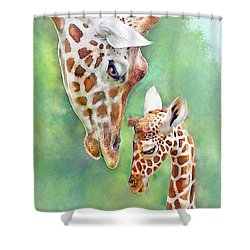 Loving Mother Giraffe2 Shower Curtain by Jane Schnetlage