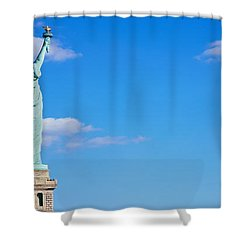 Low Angle View Of A Statue, Statue Shower Curtain