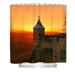 Low Sun On The Fortress Koenigstein Shower Curtain