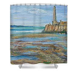 Low Tide In The Harbour. Shower Curtain