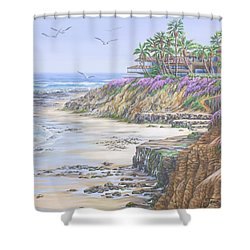 Shower Curtain featuring the painting Low Tide Solana Beach by Jane Girardot
