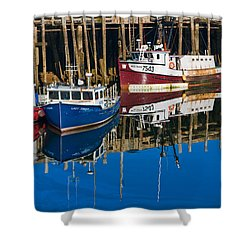 Boats And Reflections At Low Tide On Digby Bay Nova Scotia Shower Curtain
