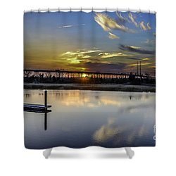 Lowcountry Marina Sunset Shower Curtain