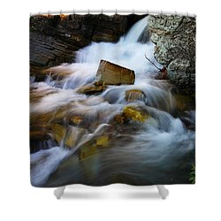 Lower Apikumi Falls Glacier National Park Shower Curtain by Jeff Swan