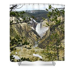 Lower Falls From Artist Point Yellowstone National Park Shower Curtain by Shawn O'Brien