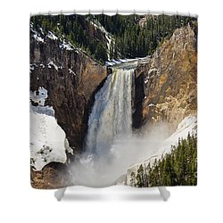Lower Falls Of The Yellowstone Shower Curtain by Sue Smith