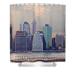 Lower Manhattan Panorama From Brooklyn Shower Curtain by Thomas Marchessault